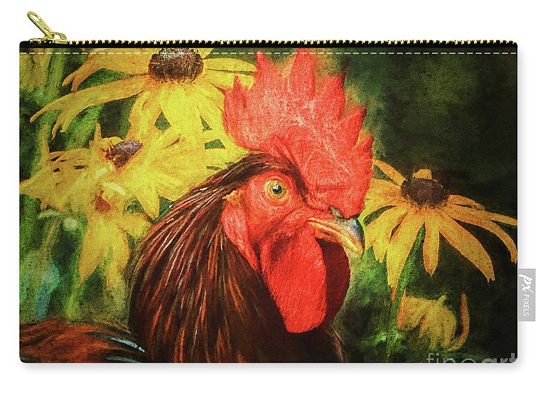Rooster Carry-all Pouch featuring the photograph Big Red by Tina LeCour