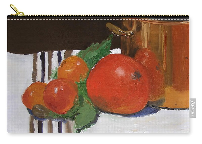 Still Life Carry-all Pouch featuring the painting Big Red Tomato by Barbara Andolsek