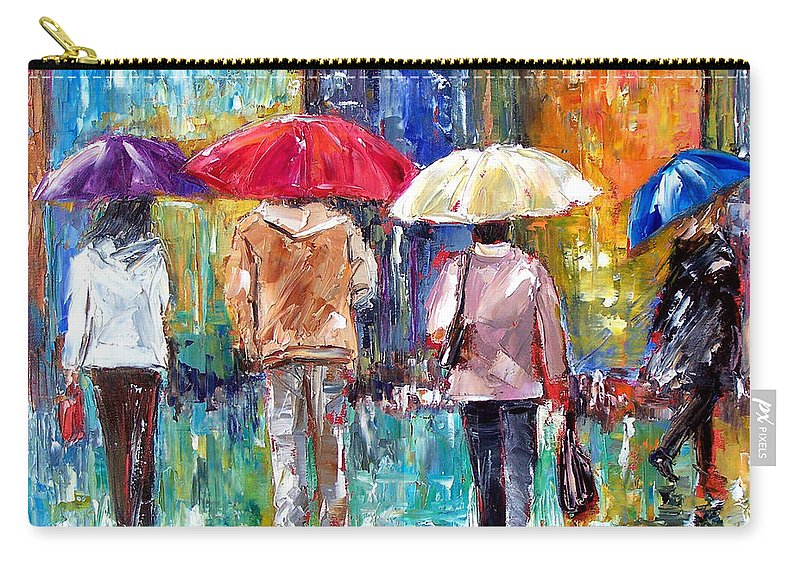 Rain Carry-all Pouch featuring the painting Big Red Umbrella by Debra Hurd