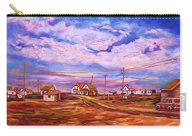 Cloudscapes Carry-all Pouch featuring the painting Big Sky Red Earth by Carole Spandau