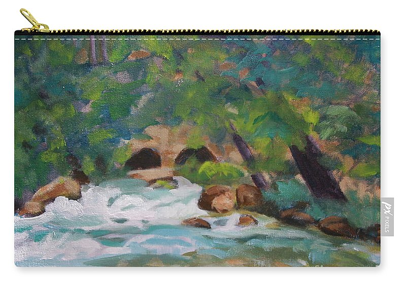 Impressionistic Carry-all Pouch featuring the painting Big Spring On The Current River by Jan Bennicoff