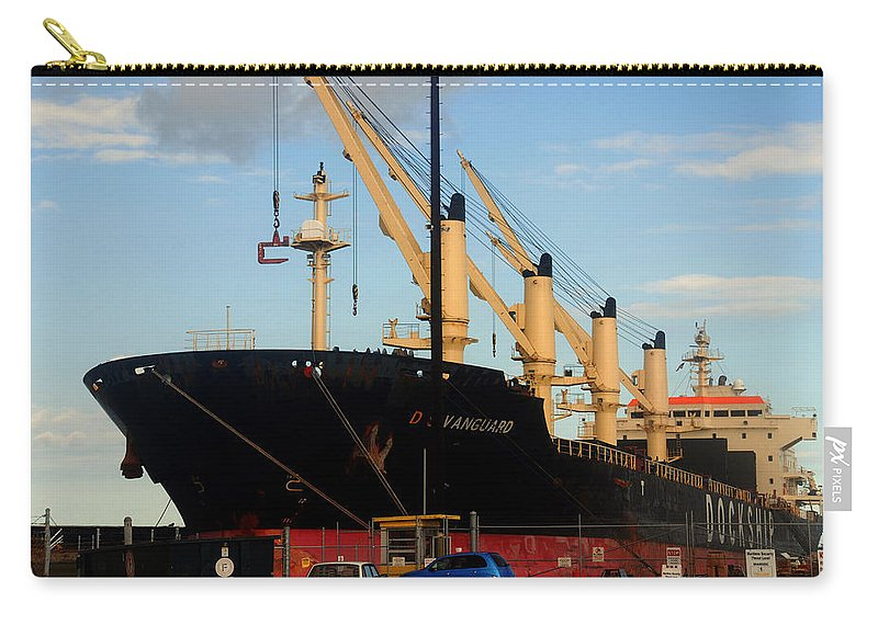 Oil Tanker Carry-all Pouch featuring the photograph Big Tanker In The Harbor by Susanne Van Hulst