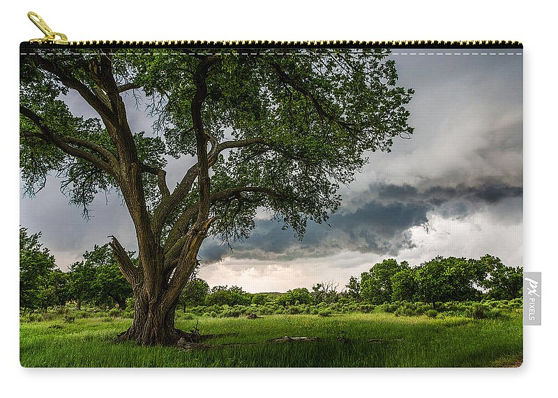 Texas Carry-all Pouch featuring the photograph Big Tree - Tall Cottonwood And Storm In Texas Panhandle by Southern Plains Photography