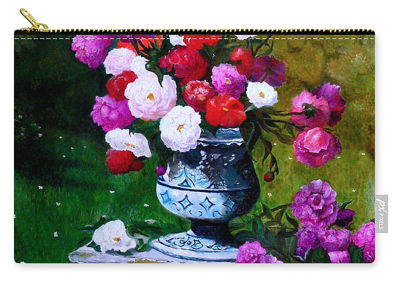 Stilllife Carry-all Pouch featuring the painting Big Vase With Peonies by Helmut Rottler
