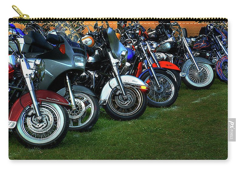 Motorcycle Carry-all Pouch featuring the photograph Big Wheels At Laconia by Wayne King