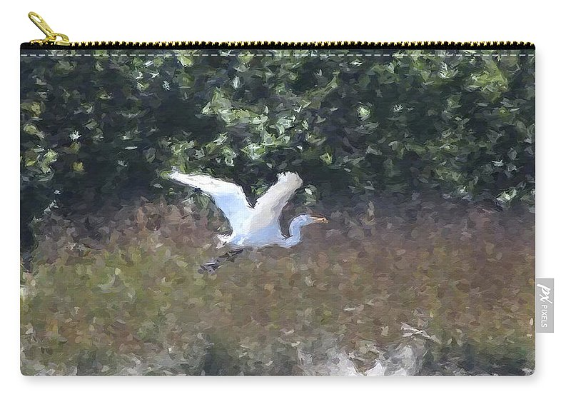 Heron Carry-all Pouch featuring the photograph Big White Bird Flying Away by Modern Art