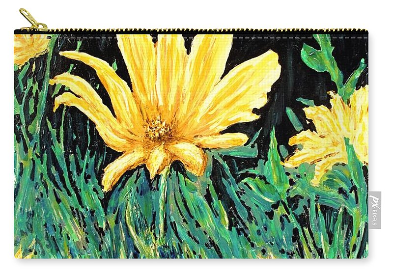 Flower Carry-all Pouch featuring the painting Big Yellow by Ian MacDonald