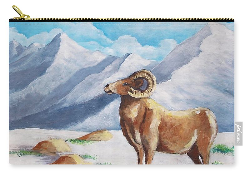 Bighorn Carry-all Pouch featuring the painting Bighorn Kam by Jean Pierre Bergoeing