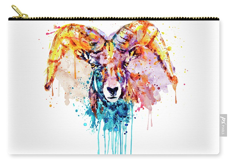 Bighorn Sheep Carry-all Pouch featuring the painting Bighorn Sheep Portrait by Marian Voicu