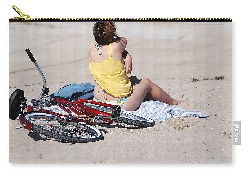 Red Carry-all Pouch featuring the photograph Bike On The Beach by Rob Hans