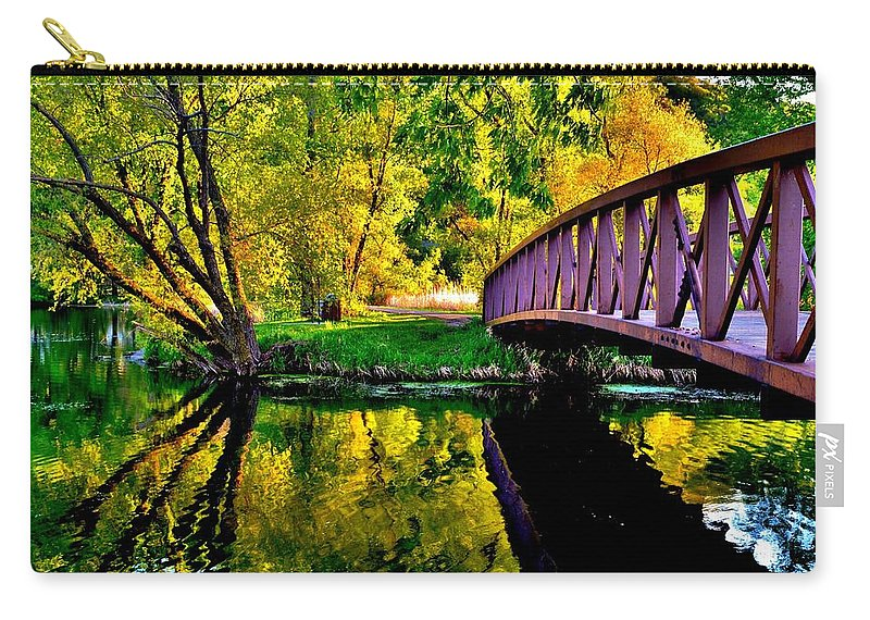 Lake Winona Bridge Carry-all Pouch featuring the photograph Bike Path Bridge by Susie Loechler