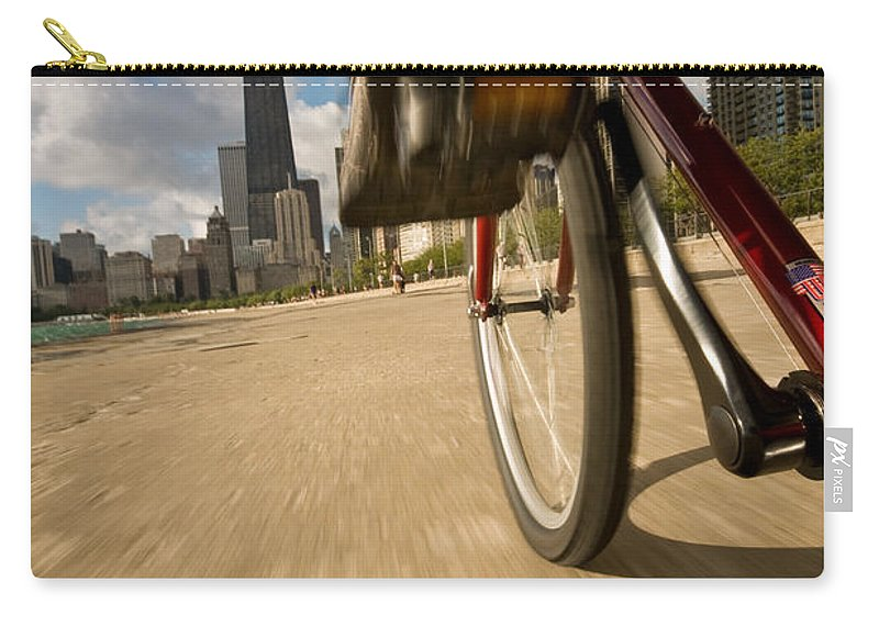 Active Carry-all Pouch featuring the photograph Biking Chicagos Lakefront by Steve Gadomski