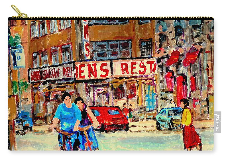 Montreal Carry-all Pouch featuring the painting Biking Past Ben by Carole Spandau