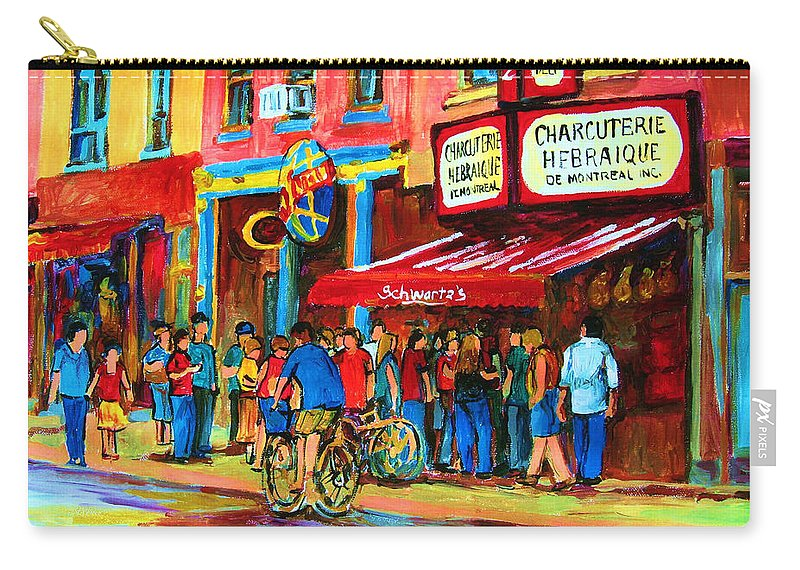 Schwartzs Smoked Meat Deli Carry-all Pouch featuring the painting Biking Past The Deli by Carole Spandau
