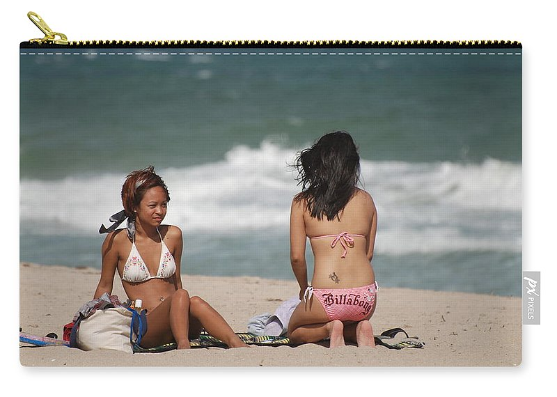Sea Scape Carry-all Pouch featuring the photograph Billabong Girls by Rob Hans