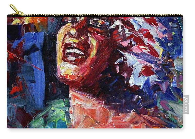 Jazz Carry-all Pouch featuring the painting Billie Holiday Live by Debra Hurd
