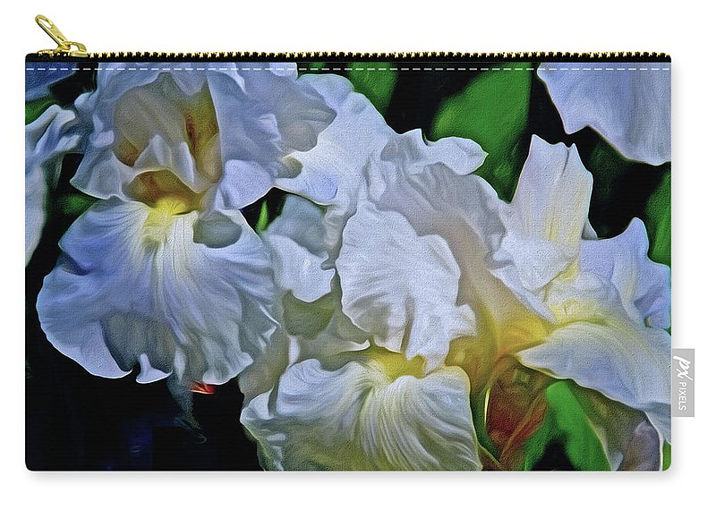Iris Carry-all Pouch featuring the mixed media Billowing White Irises by Lynda Lehmann