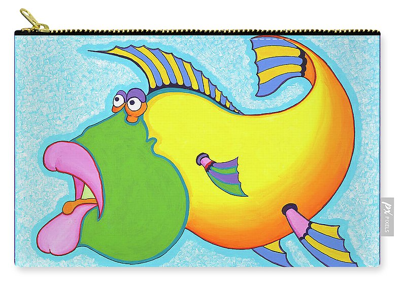Fish Print Carry-all Pouch featuring the painting Billy Bass by Ian Turner