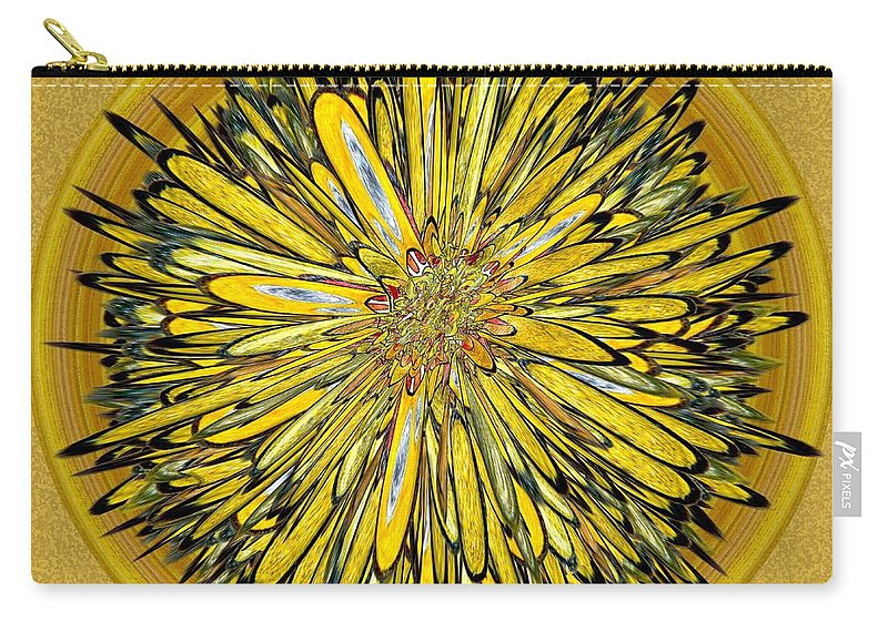 Abstract Carry-all Pouch featuring the digital art Billy Jean -- Floral Disk by Mark Sellers