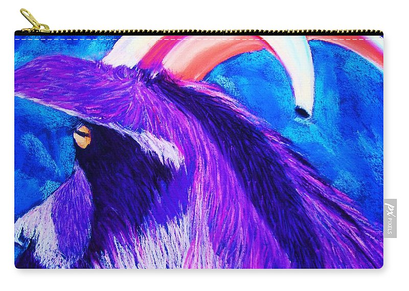 Goat Carry-all Pouch featuring the pastel Billy The Kid by Melinda Etzold