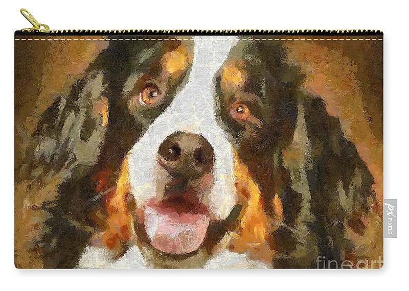 Portraits Carry-all Pouch featuring the painting Bimbo - Bernese Mountain Dog by Dragica Micki Fortuna