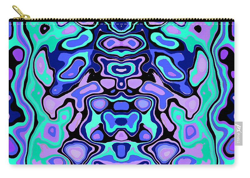 Turquoise Carry-all Pouch featuring the digital art Biomorphic #1 by Shannon Stancliff
