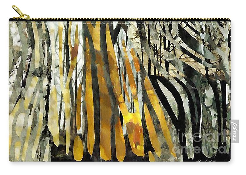 Birch Trees Carry-all Pouch featuring the mixed media Birch Forest by Sarah Loft