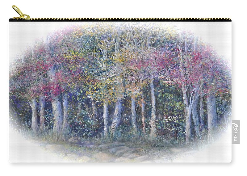 Trees Carry-all Pouch featuring the painting Birch Tree Gathering by Penny Neimiller