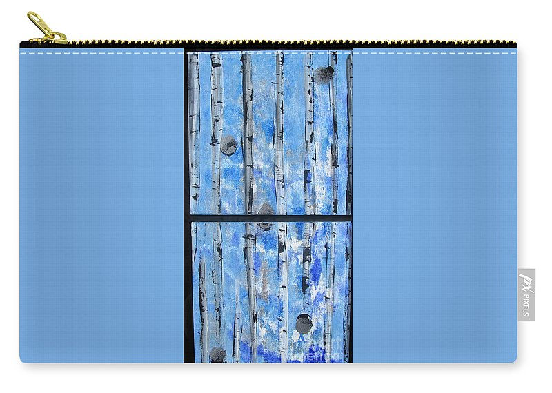 Land Carry-all Pouch featuring the painting Birch Trees - Blue by Jacqueline Athmann