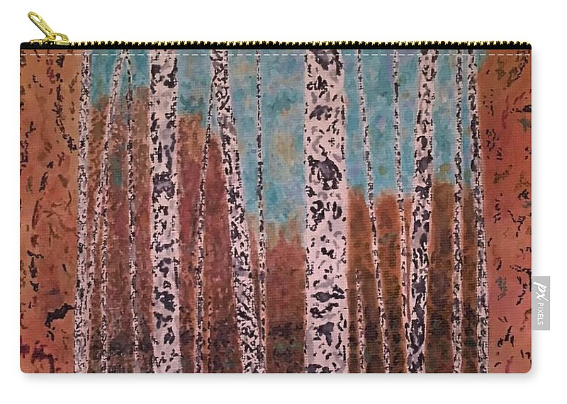 Trees Carry-all Pouch featuring the painting Birch Trees by John Cunnane