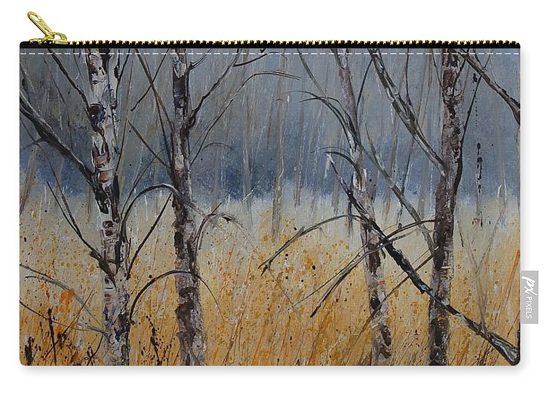 Winter Carry-all Pouch featuring the painting Birch Trees by Pol Ledent