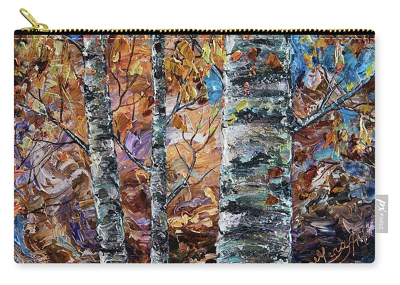 Impressionism Carry-all Pouch featuring the painting Birch Trees Oil Painting With Palette Knife by OLena Art Brand