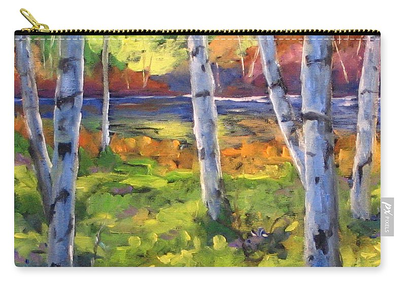 Art Carry-all Pouch featuring the painting Birches 01 by Richard T Pranke