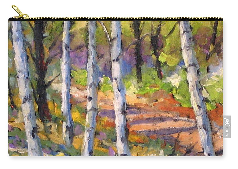 Art Carry-all Pouch featuring the painting Birches 02 by Richard T Pranke