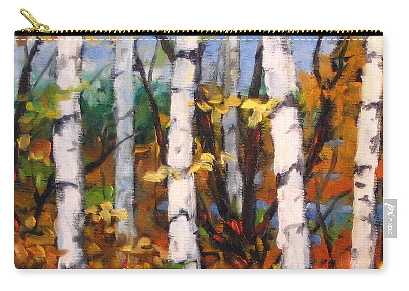 Art Carry-all Pouch featuring the painting Birches 03 by Richard T Pranke
