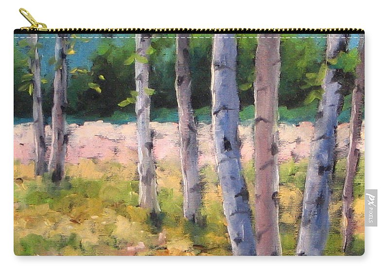Art Carry-all Pouch featuring the painting Birches 04 by Richard T Pranke