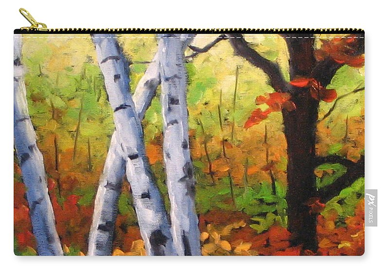 Art Carry-all Pouch featuring the painting Birches 05 by Richard T Pranke