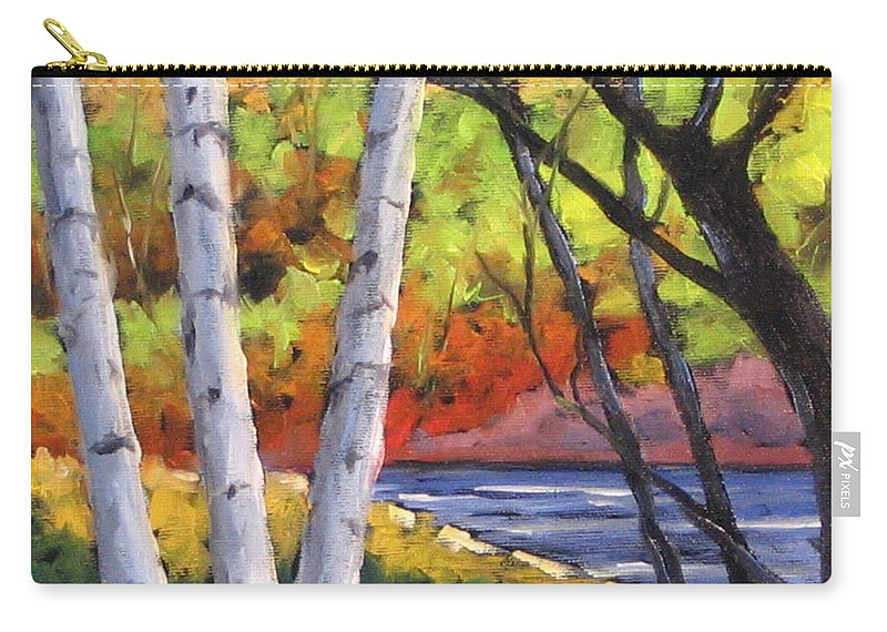 Art Carry-all Pouch featuring the painting Birches 06 by Richard T Pranke