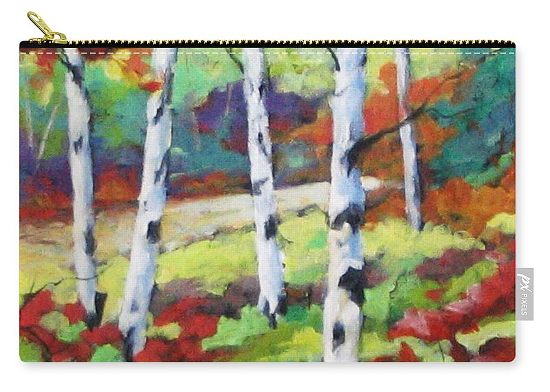 Art Carry-all Pouch featuring the painting Birches 07 by Richard T Pranke