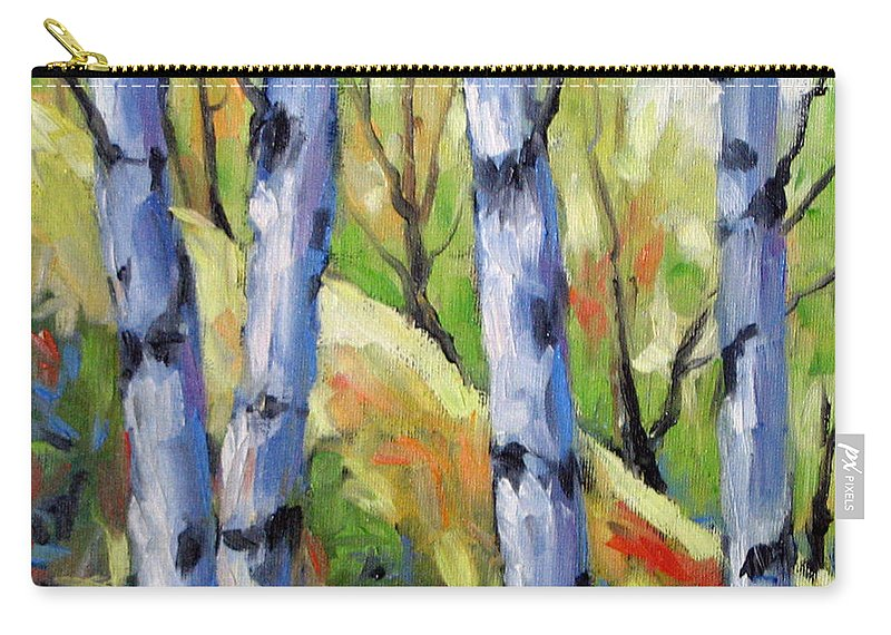 Art Carry-all Pouch featuring the painting Birches 09 by Richard T Pranke