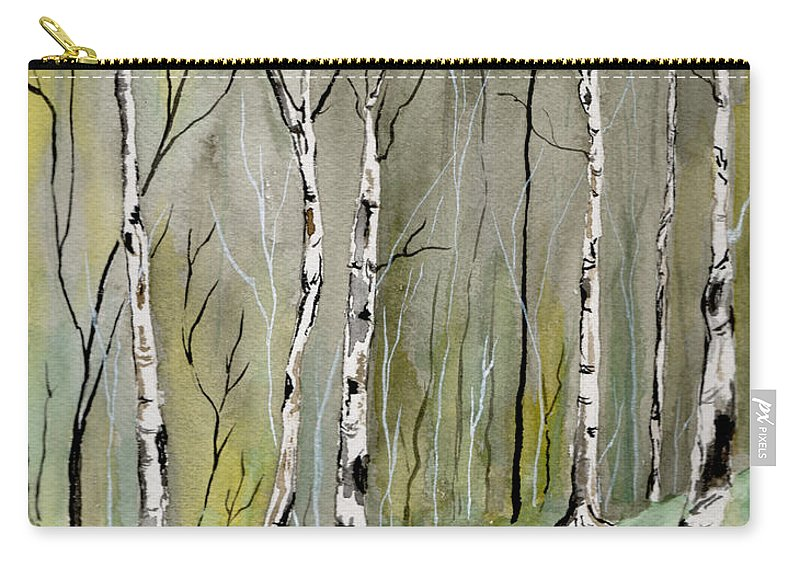 Landscape Carry-all Pouch featuring the painting Birches Before Spring by Brenda Owen