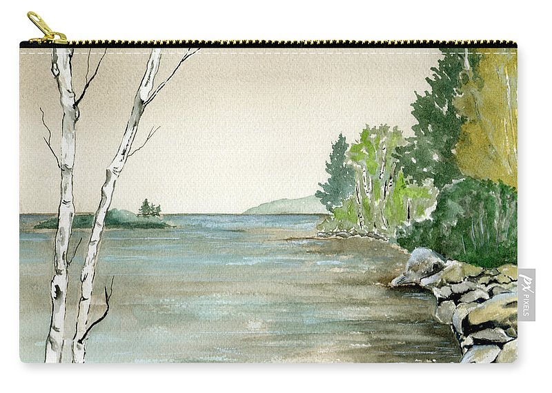 Landscape Watercolor Birches Trees Lake Pond Water Sky Rocks Carry-all Pouch featuring the painting Birches By The Lake by Brenda Owen