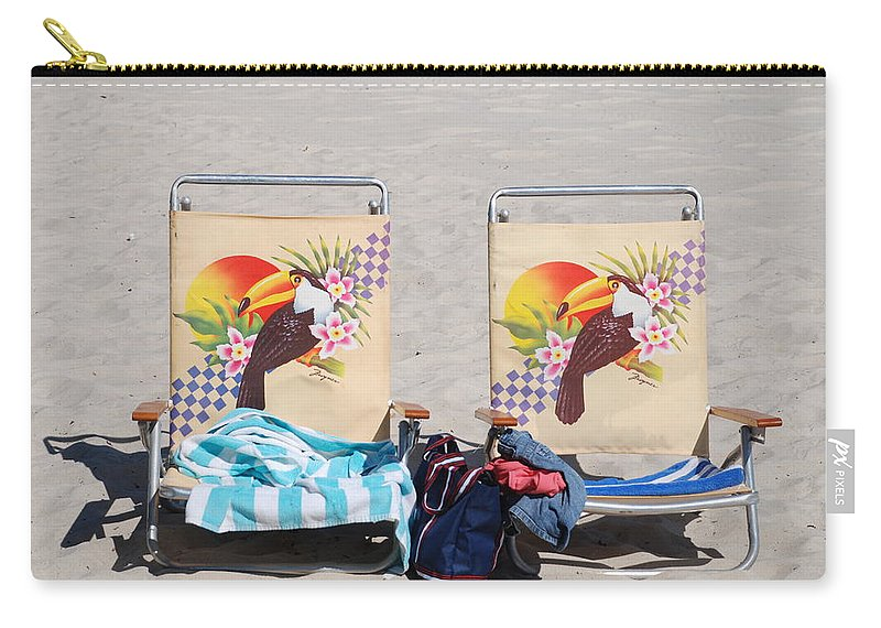 Chairs Carry-all Pouch featuring the photograph Bird Chairs by Rob Hans