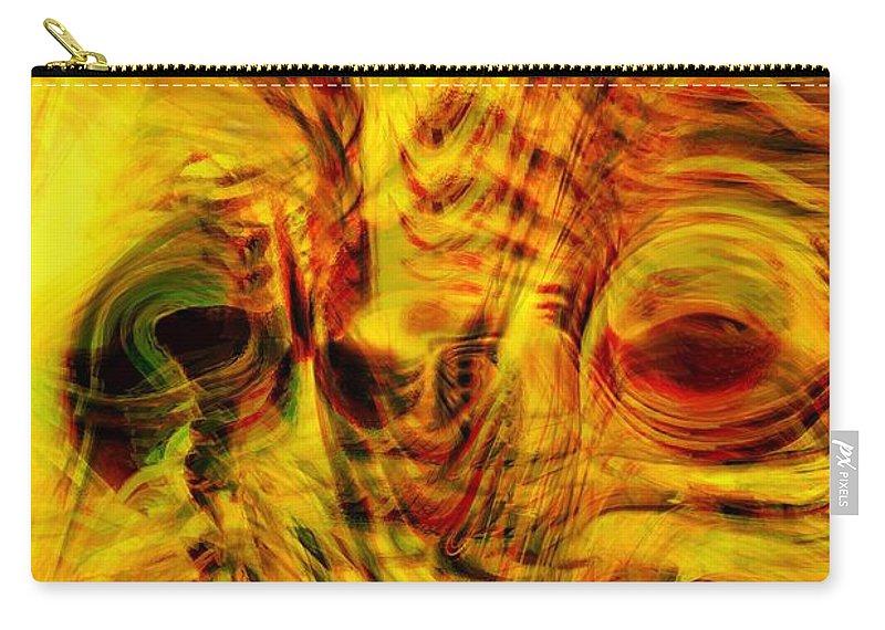 Abstract Art Carry-all Pouch featuring the digital art Bird Face by Linda Sannuti