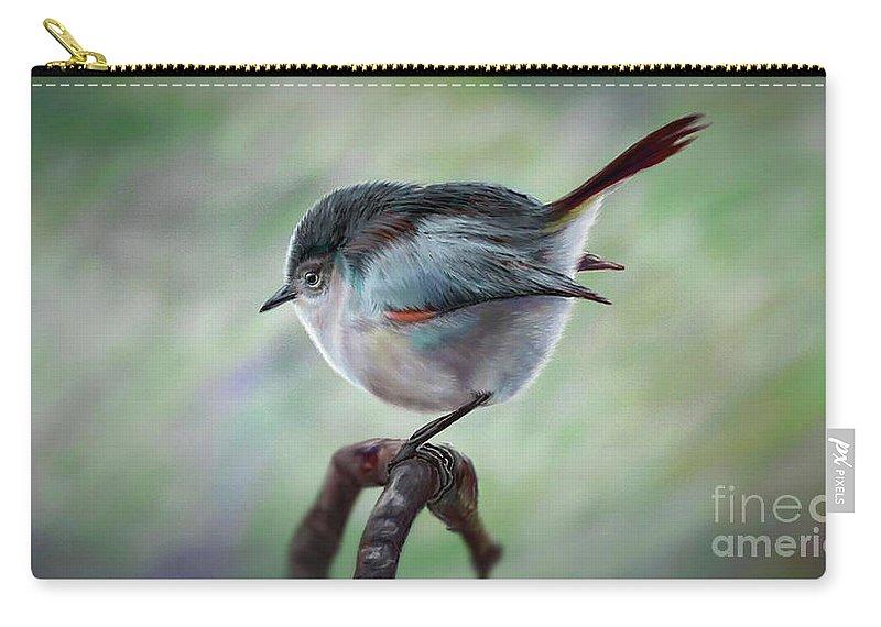 Bird Painting Artwork Carry-all Pouch featuring the digital art Bird by Georgi Shterev