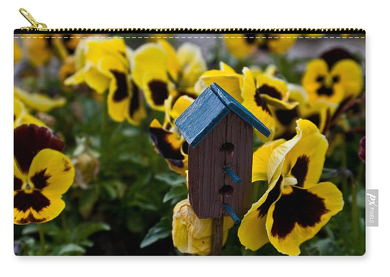 Pansy Carry-all Pouch featuring the photograph Bird House And Pansey by Douglas Barnett