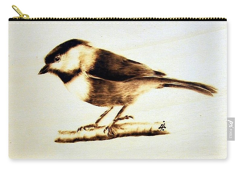 Wood Carry-all Pouch featuring the pyrography Bird by Ilaria Andreucci