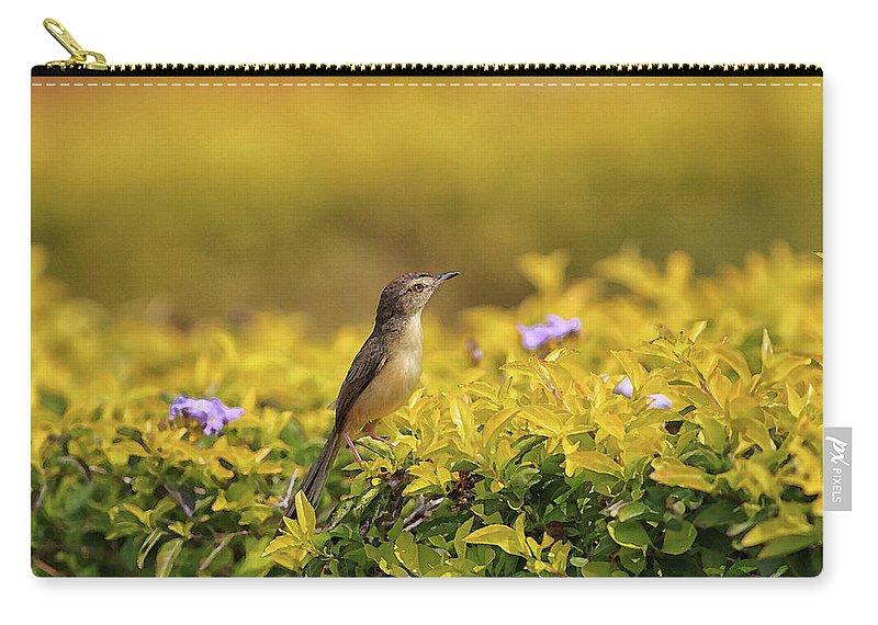 Bird Carry-all Pouch featuring the digital art Bird in a Garden by Sandeep Gangadharan
