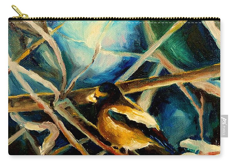 Carry-all Pouch featuring the painting Bird In Winter by Carole Spandau