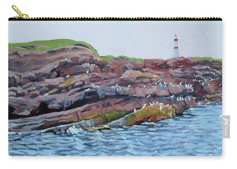 Birds Carry-all Pouch featuring the painting Bird Island by Carol Morrison